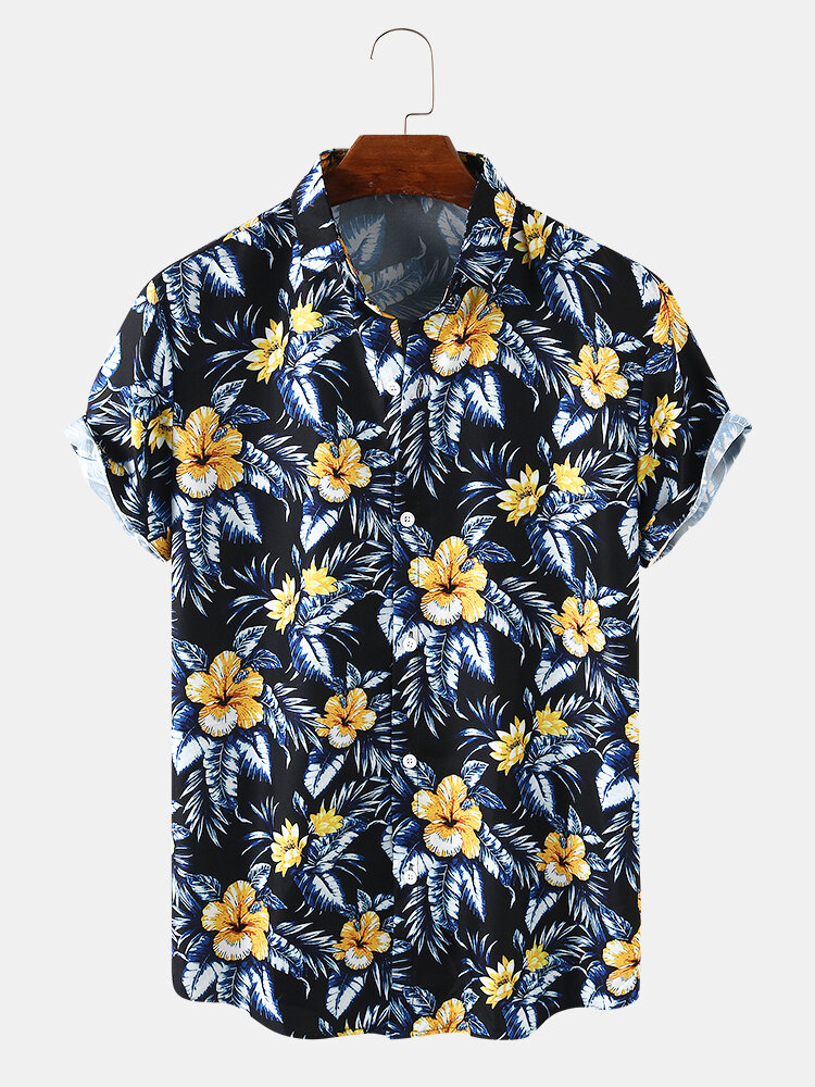 Mens Floral Print Breathable Light Turn Down Collar Short Sleeve Shirts