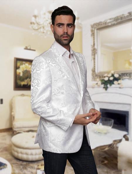 Tuxedo Dinner Jacket Blazer Paisley Sport Coat Sequin Shiny Flashy