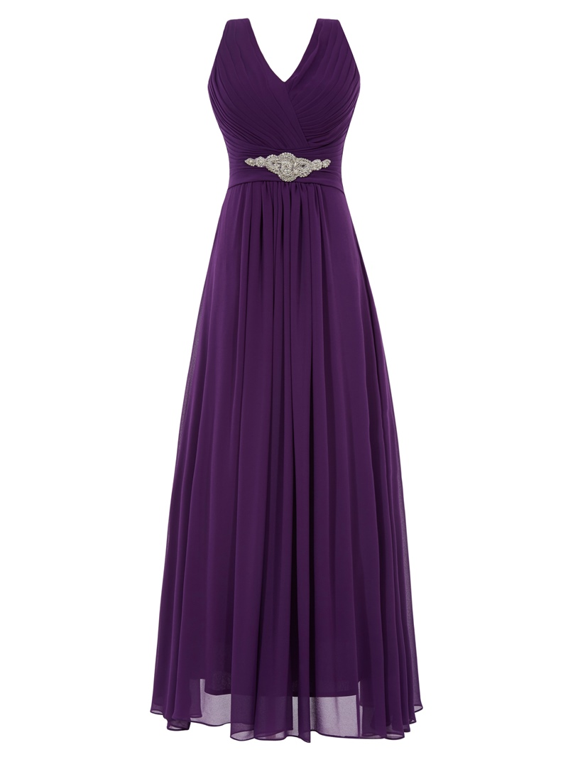 Ericdress A-Line V-Neck Beading Ruched Floor-Length Evening Dress
