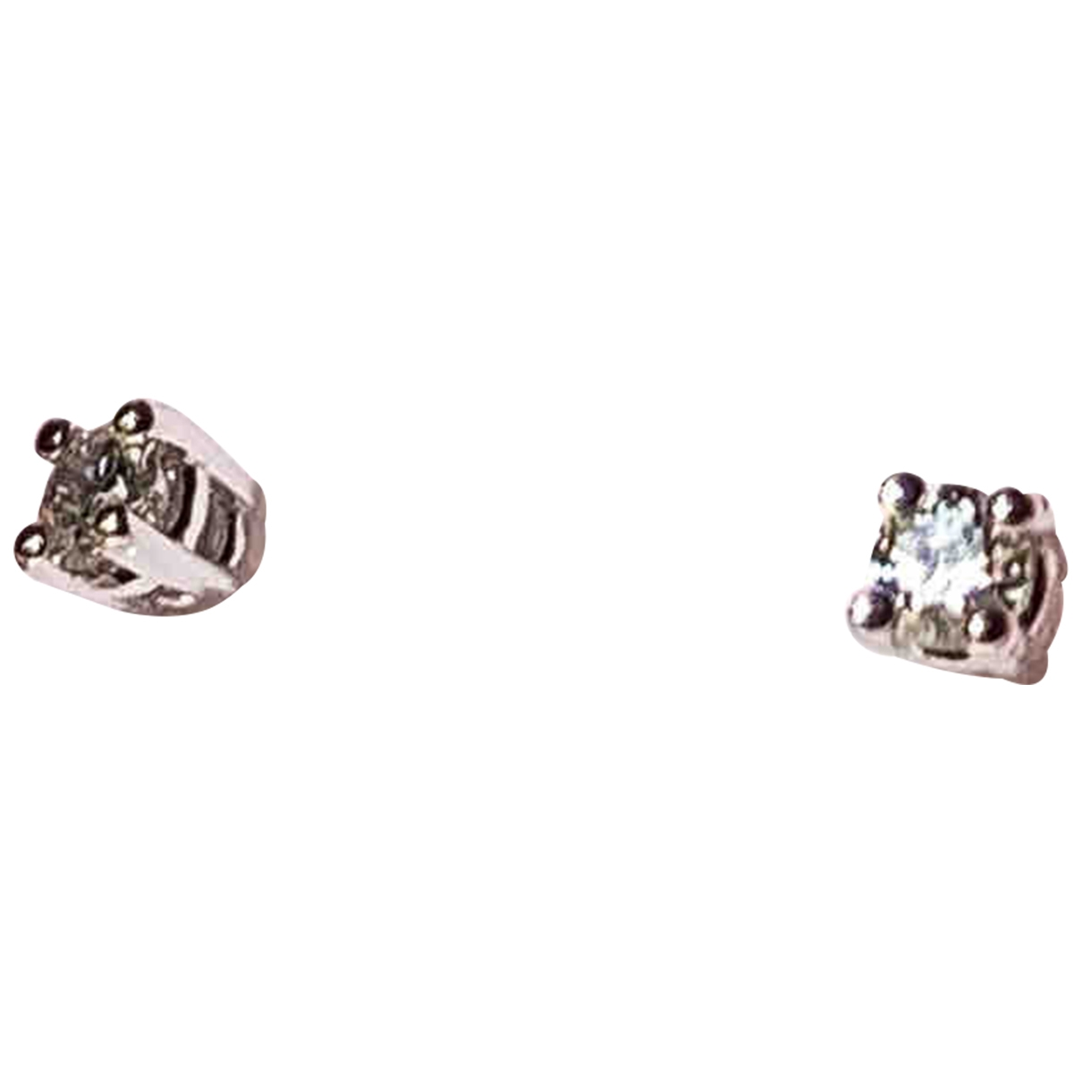 Non Sign?? / Unsigned Puces en diamants Silver White gold Earrings for Women \N