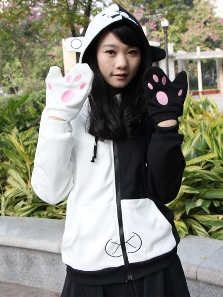 Milanoo Danganronpa Monokuma Anime Sweatshirt with Gloves Anime Hoodies Halloween