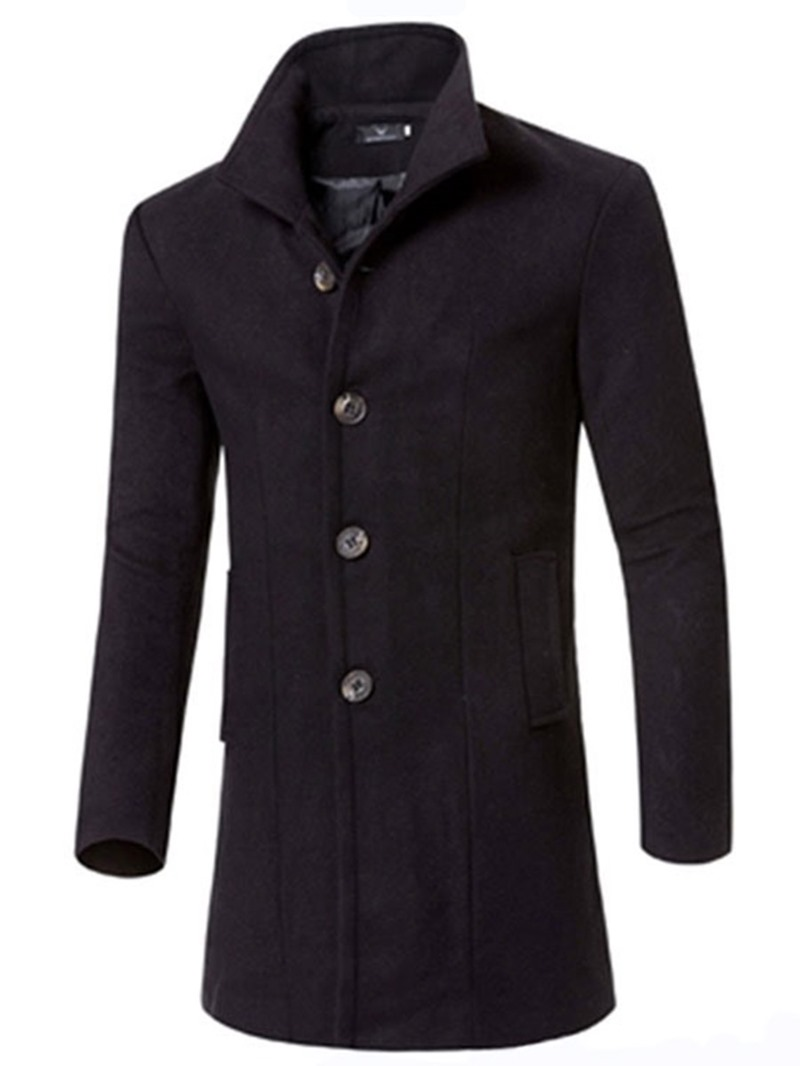 Ericdress Long Slim Solid Color Men's Trench Coat