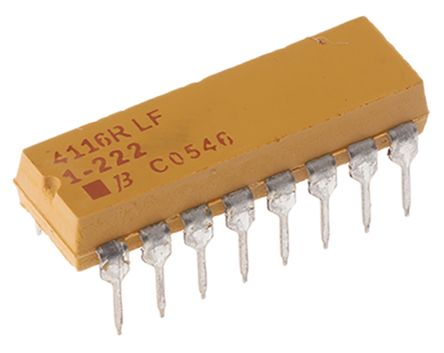 Bourns Isolated Resistor Array 2.2kΩ ±2% 8 Resistors, 2.25W Total, DIP package 4100R Through Hole (25)