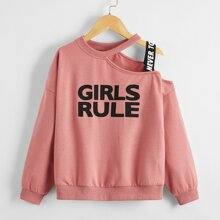 Girls Slogan Graphic Asymmetrical Neck Taped Detail Pullover