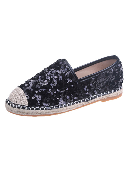 Milanoo Silver Sequined Cloth Loafers Round Toe Color Block Casual Women\'s Shoes