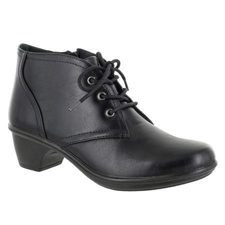 Easy Street Womens Debbie Block Heel Zip Bootie, 5 1/2 Medium, Black