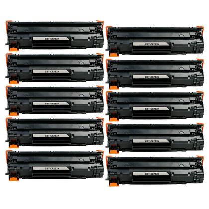 Compatible HP 83X CF283X Black Toner Cartridge - Economical Box - 10/Pack