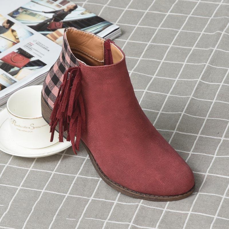Ericdress Round Toe Side Zipper Plaid Women's Flat Boots