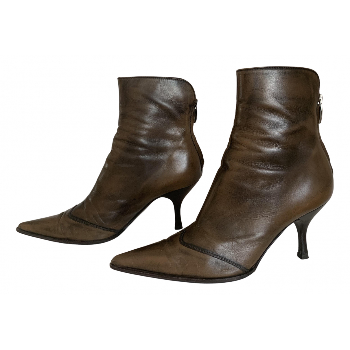 Sergio Rossi \N Brown Leather Ankle boots for Women 37.5 IT