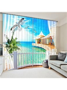3D White Doves and Sea House Printed Beach Scenery Custom Curtain for Living Room