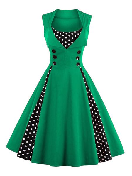 Milanoo Women's Vintage Dress Light Blue Square Neckline Sleeveless Polka Dot Pleated Skater Dress