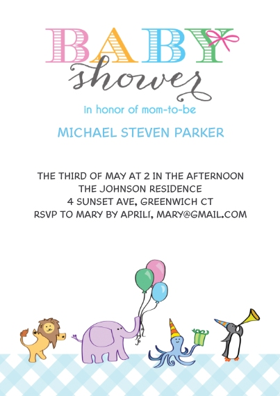 Baby Shower Invitations 5x7 Cards, Standard Cardstock 85lb, Card & Stationery -Baby Shower Animals