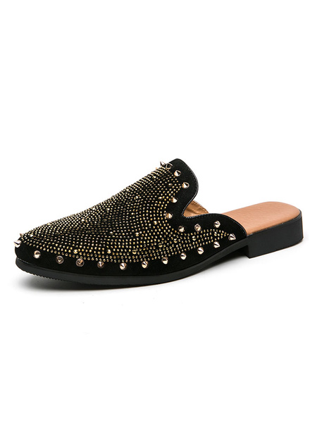 Milanoo Men\'s Sandals Slip-On Artwork Studded Rivets PU Leather Rubber Sole Spike Mules