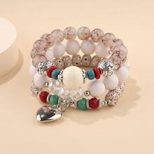 3pcs Heart Charm Beaded Bracelet