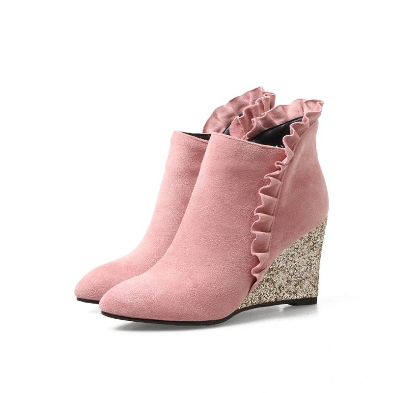 Ericdress Ruffles Plain Wedge Heel Ankle Boots