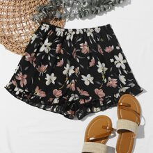 Frill Hem Floral Print Shorts