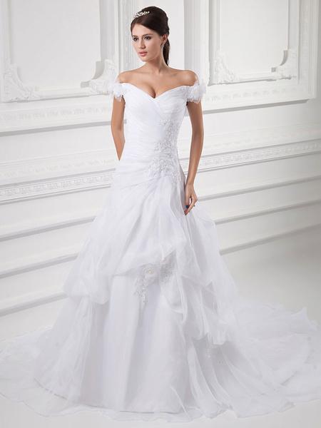 Milanoo White A-Line Off-The-Shoulder Applique Organza Wedding Dress
