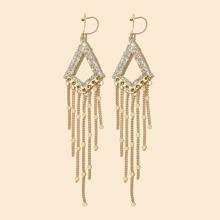 Rhinestone Inlaid Geometric Tassel Drop Earrings