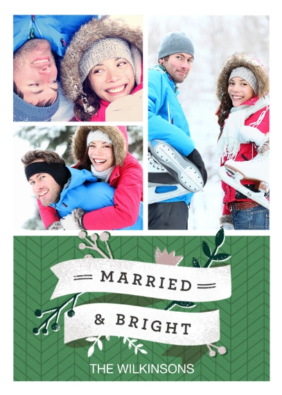 Christmas Photo Cards 5x7 Cards, Premium Cardstock 120lb, Card & Stationery -Married & Bright
