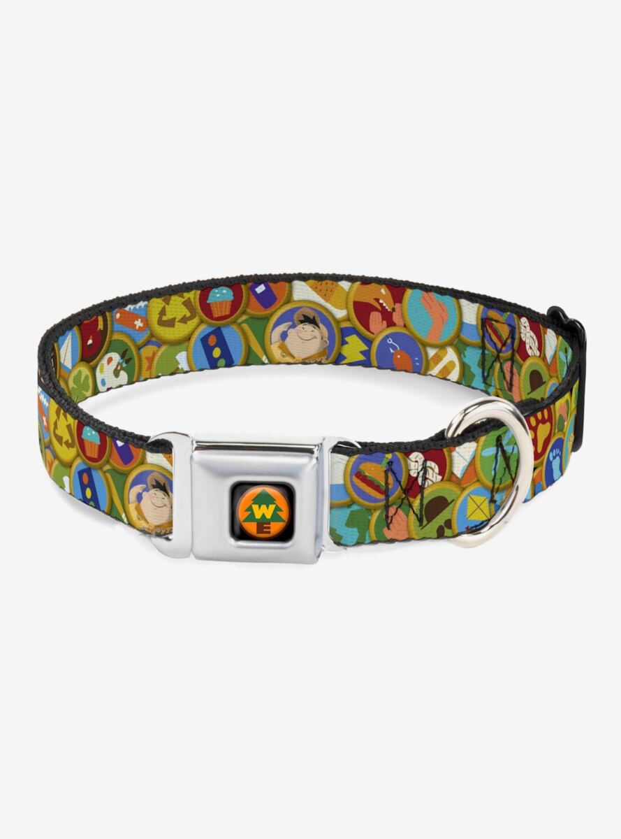 Disney Pixar Up Stacked Wilderness Explorers Badges Dog Collar Seatbelt Buckle
