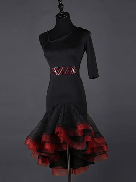 Milanoo Dance Costumes Latin Dancer Dresses Black Organza Beaded Ruffle Dress Women's Dancing Clothing Hallloween