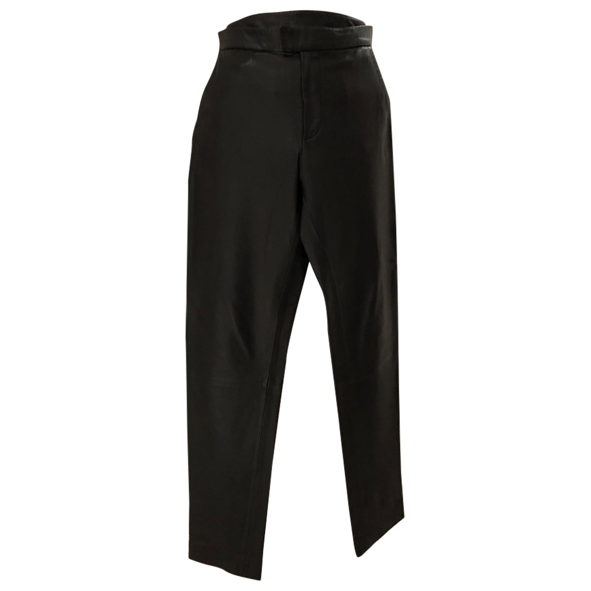 Designers Remix \N Black Leather Trousers for Women 36 FR