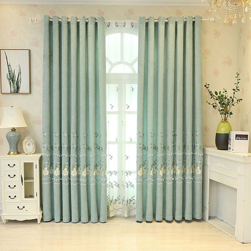 Decoration and Blackout River Blue Embroidered Flowers Customs Curtains