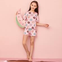 Girls Allover Donuts Print Top & Shorts PJ Set