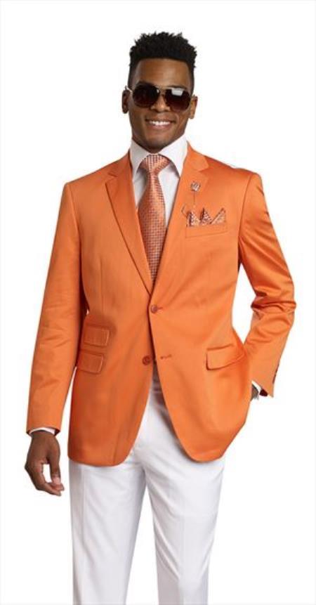 Mens 2 Button 2 Piece Orange Blazer
