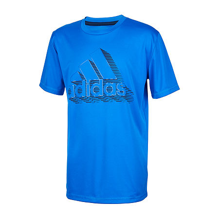 adidas Little Boys Round Neck Short Sleeve Graphic T-Shirt, 5 , Blue