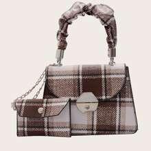 Plaid Satchel Bag With Purse
