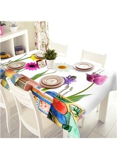 White Rectangle Polyester Flower Pot Pattern Tablecloth