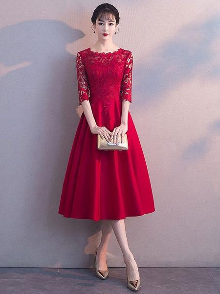 Milanoo Short Prom Dresses Lace Half Sleeve Burgundy A Line Tea Length Graduation Party Dress