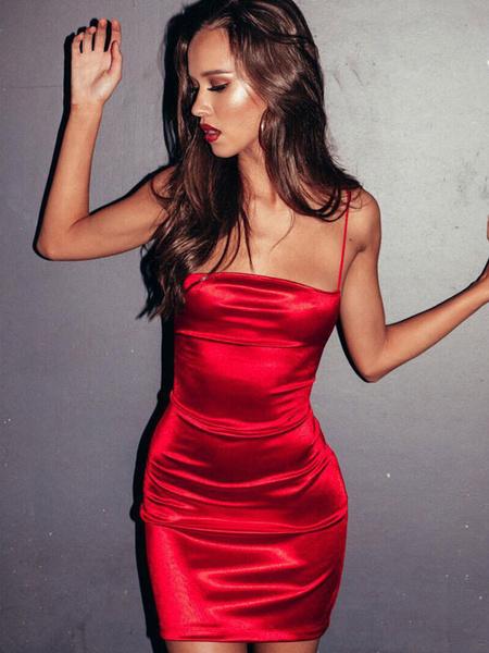Milanoo Sexy Bodycon Dress Sleeveless Lace Up Backless Shaping Mini Dress
