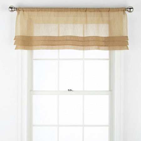 Home Expressions Crushed Voile Rod-Pocket Tailored Valance, One Size , Yellow