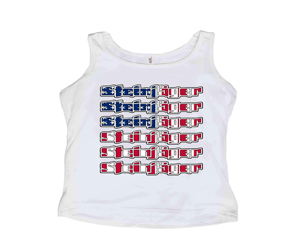 Steinjager J0045009 White with USA Flag Tank Tops Size S