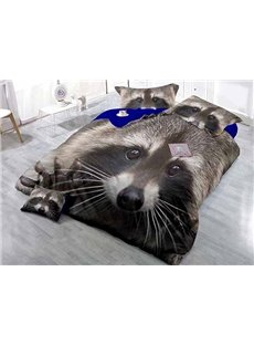 Cute Raccoon Wear-resistant Breathable High Quality 60s Cotton 4-Piece 3D Bedding Sets