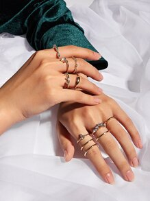 11pcs Rhinestone Decor Ring
