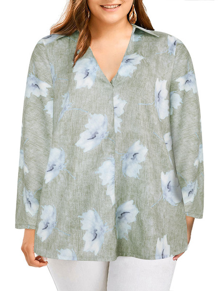 Milanoo Blouse For Women Blue Polyester V-Neck Casual Floral Printed Long Sleeves Tops