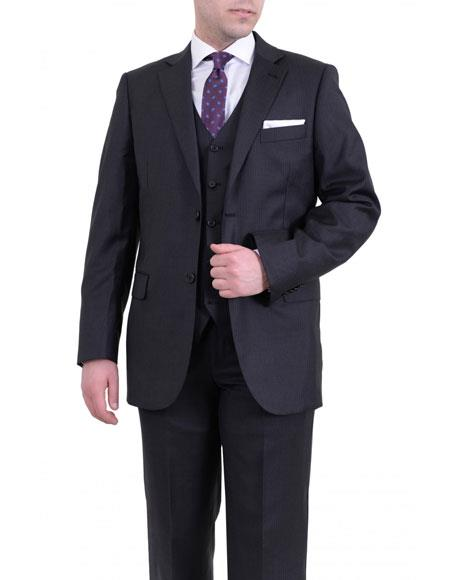 Mens Gray 2 Buttons Fit Wool Notch Lapel Pinstriped Vested Suit