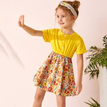 Toddler Girls Button Front Floral Print Combo Dress
