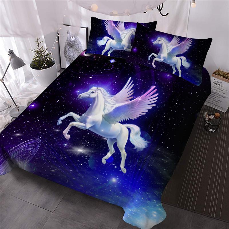 Galaxy Unicorn Wings Three-Piece Set Comforter Set Reactive Printing Polyester Bedding Sets
