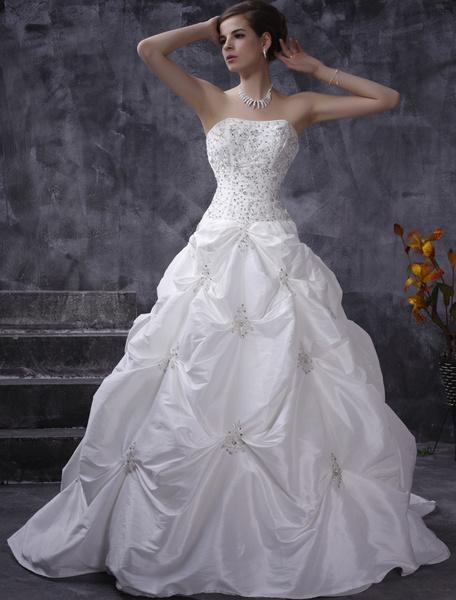 Milanoo White Wedding Dresses Ball Gown Strapless Taffeta Ruched Bridal Dress Beading Chapel Train Bridal Gown