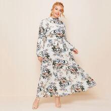 Plus Mock Neck Floral Print Belted Dress