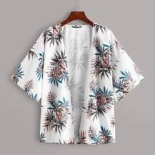 Tropical Print Drop Shoulder Kimono