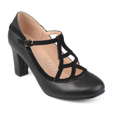Journee Collection Womens Nile Pumps Block Heel, 7 Medium, Black