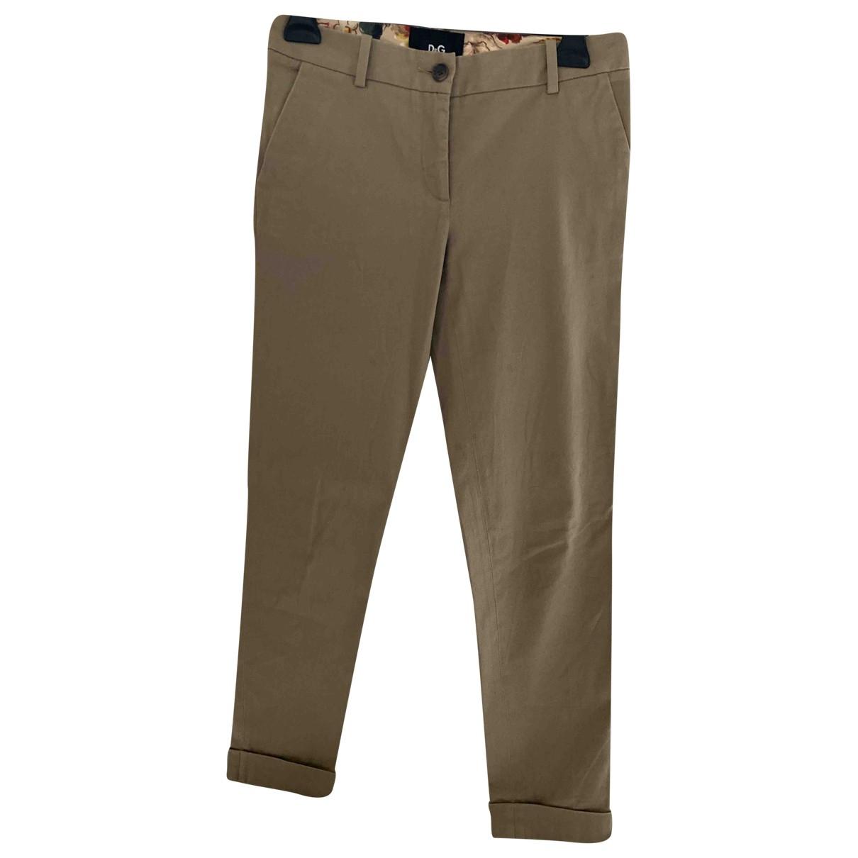 D&g \N Beige Cotton Trousers for Women 38 IT