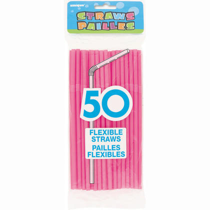 Pailles flexibles en plastique jetables de courbure pour boisson, 50pcs - Rose vif