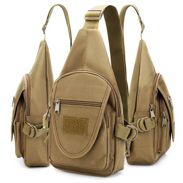 Men Oxford Backpack Shoulder Chest Hiking Military Bag Crossbody Bag