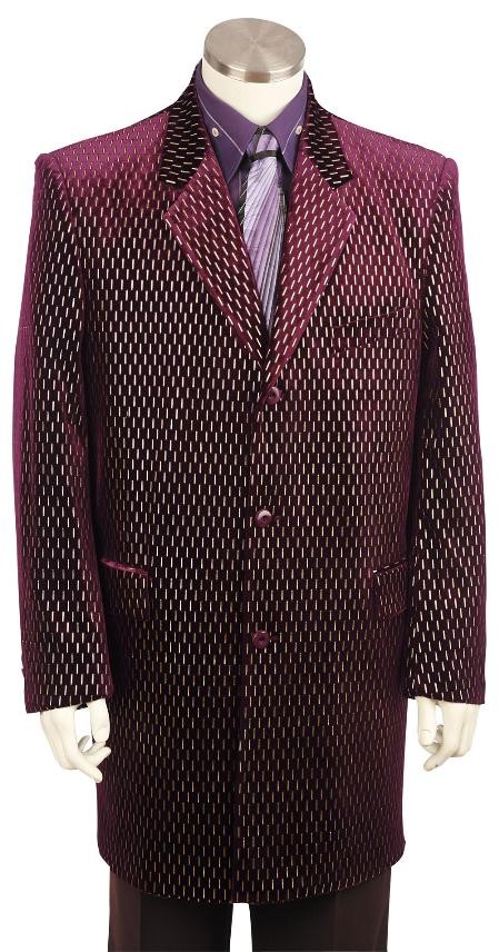 3 Button Raisin Velvet Suit Mens